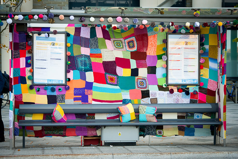 Knitting art installation by Ali Brown at the 101 NBT Fresh Arts Festival at Southmead Hospital, Bristol, UK. September 2015. Picture by Clint Randall www.pixelprphotography.co.uk